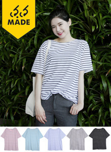 66GIRLSStriped Round Neck T-Shirt