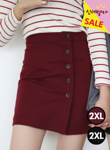 66GIRLSOff-Center Buttoned Mini Skirt