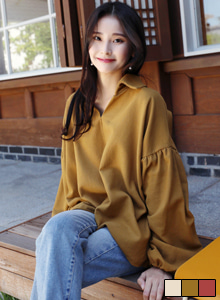 66GIRLSJohnny Collar Balloon Sleeve Blouse