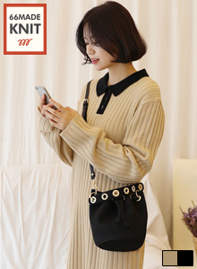 66GIRLSContrast Collar Ribbed Dress