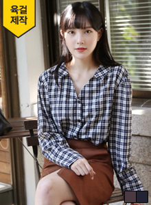 66GIRLSSpread Collar Check Shirt