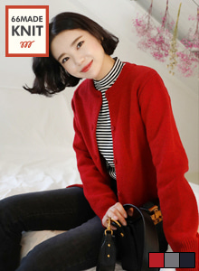 66GIRLSRound Neck Knit Cardigan