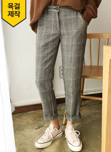 66GIRLSHigh Waist Straight-Cut Check Pants